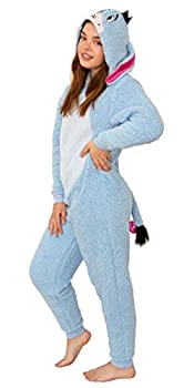 Disney Winnie The Pooh Adult Eeyore Sherpa Cosplay Costume Union Suit Pajama Blue