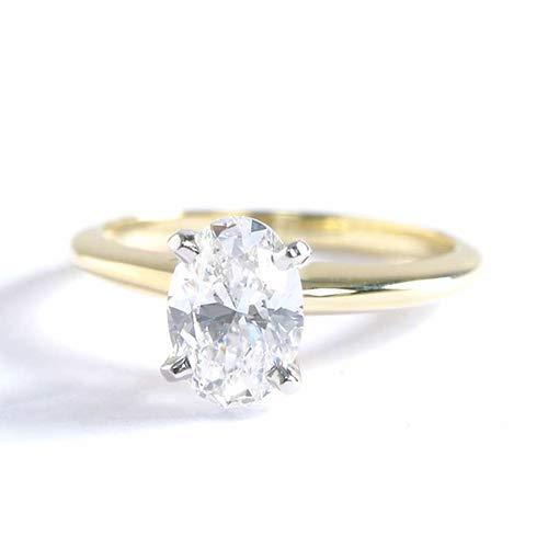 Anillo de compromiso de oro amarillo de 18 K con diamante solitario de corte ovalado clásico SI2 F de 0,90 quilates.