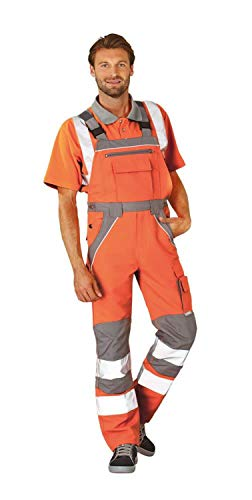 Planam 5620058 Warnschutz Latzhose Plaline Größe 58 in orange/zink