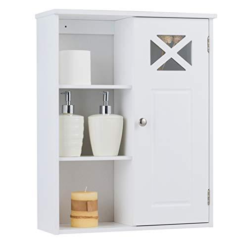 DREAMADE Badezimmerschrank hängend, Badschrankaus Holz, Beistellschrank mi t verstellbaren Ablageebenen, Weiß