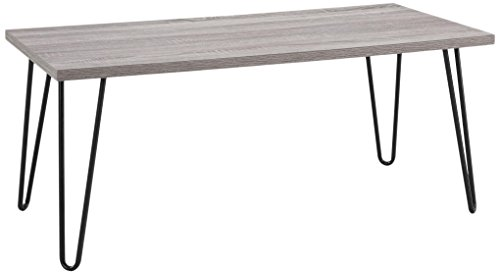 Ameriwood Home Altra Owen Retro Coffee Table with Metal Legs, Distressed Gray Oak