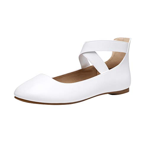DREAM PAIRS Women's Sole_Stretchy White Pu Fashion Elastic Ankle Straps Flats Shoes Size 7 M US