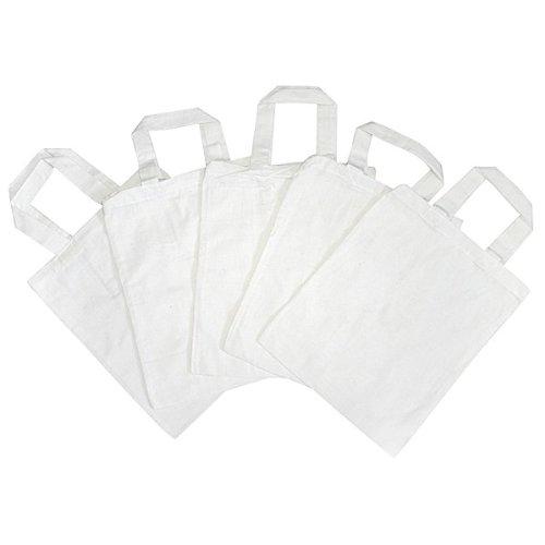 Katoenen tassen groot, wit onbedrukt om te beschilderen 38x42cm, 5 stuks