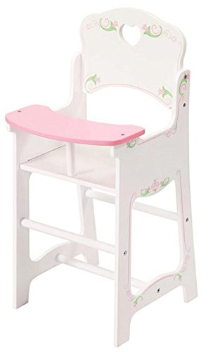The Magic Toy Shop Dolls Wooden High Chair and Rocking Cradle Cot Bed Doll Furniture Set Matching Quilt & Pillow Dolls Bedding (High Chair)