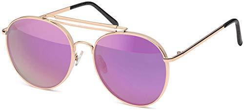 styleBREAKER gafas de sol de aviador con una gruesa montura de metal, puente doble de metal y lentes planas, gafas de aviador, unisex 09020078, color:Dorado montura/Fucsia vidrio de espejo
