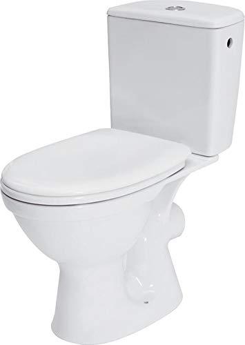 VBChome Keramik Stand- WC Toilette Komplett Set mit Spülkasten WC- Sitz aus Polypropylen mit Absenkautomatik SoftClose-Funktion für waagerechten Abgang Wasseranschluss