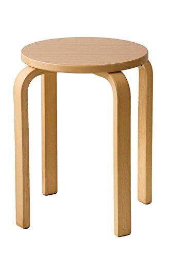 木製 曲脚イス 椅子 丸いす 丸椅子 丸イス スツール スタッキングチェアー (ナチュラル(12838))