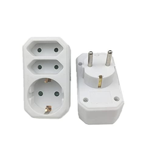 SPFCJL EU 3 Outlet Power Convertido Convertido Tapa de Pared 16A 250V 1 a 3WAY Power Strip Outlet Triple ALEMAN Adaptador DE Adaptador 3500W (Color : White)