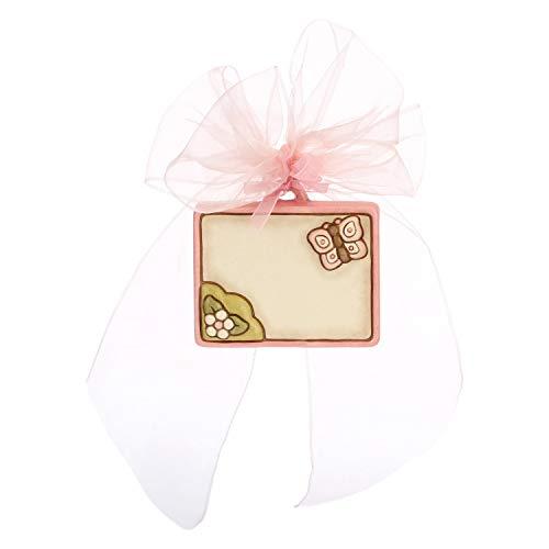 THUN ® - Coccarda Nascita - Ceramica - con Farfalla - Personalizzabile -10,8 x 9,7 h cm