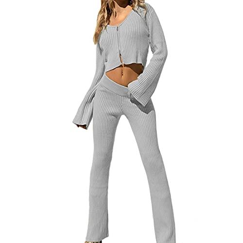 Tuta da Jogging da Donna per la casa a Maniche Lunghe con Cerniera Giacca con Scollo a V Pantaloni da casa in Due Pezzi Tuta Casual Corta Lavorata a Maglia Sexy XL