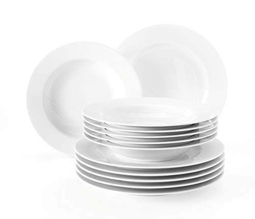 Seltmann Weiden 001.741309 Liane Tafelservice 12-teilig weiß | Set für bis zu 6 Personen |Serie Rondo | beinhaltet je 6 Speiseteller und Suppenteller, Hartporzellan
