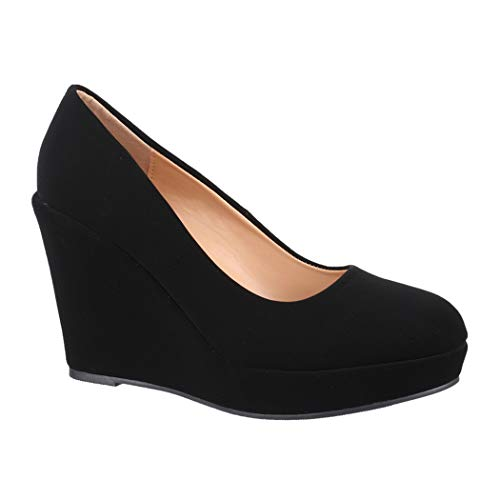 Elara Damen Pumps Keilabsatz Schuhe Plateau Chunkyrayan BY8013-SP-Black-39
