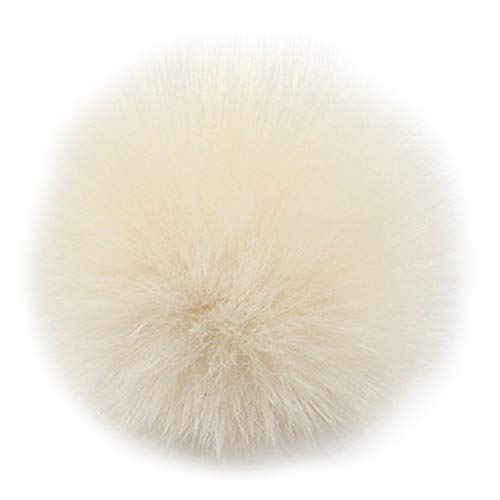AXSWER 2Pcs/Set Faux Fur Pom Pom Balls 8cm DIY Fluffy Ball With Elastic Loop for Hats Scarves Gloves Keychains Bags Charm Accessories, 14 Colors Optional