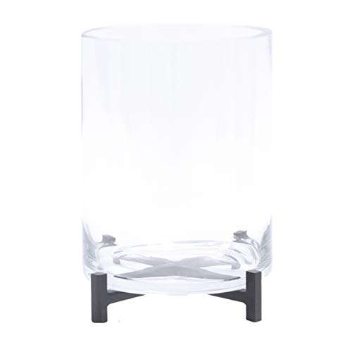 Varia Living Windlicht Mauro mit Glaszylinder | für Teelichter und kleinere Kerzen | Tischdeko | Accessoire für innen und draußen | Kerzenhalter | Dekoration für Wohnung