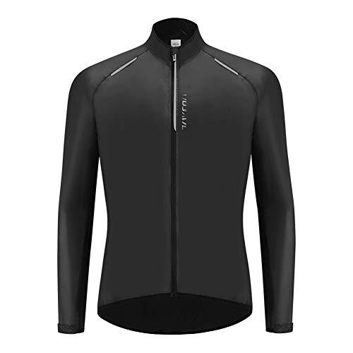 Chaqueta Impermeable de Ciclismo Hombre Chaleco Resistente Al Viento Abrigo Agua Ropa Deportiva Transpirable para Exteriores Protección UV (Black,XXL)