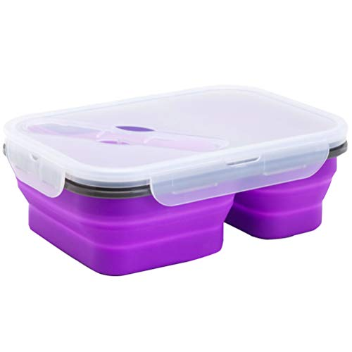 SJWR Opvouwbare vershouddoos van silicone met deksel, geschikt voor de magnetron, koelkast met vriesvak, vaatwasmachinebestendig, bento-box voor kinderen en volwassenen