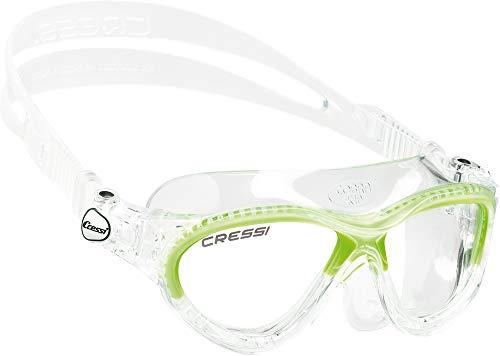 Cressi Cobra Kid Occhialini da Nuoto con Facciale Monovolume, Unisex bambini, Trasparente/Lime