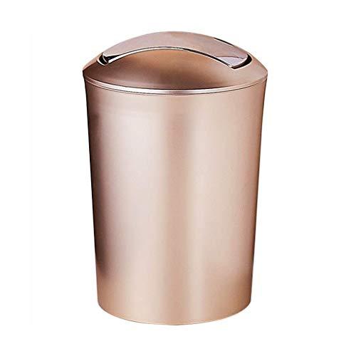 LZZB Mülleimer Combo Set Abfall Papierkorb Europäische Größe Mülleimer Schaukel Abdeckung Home Wohnzimmer Schlafzimmer Schreibtisch Aufbewahrungseimer, Gold/Grün Papierkorb (Farbe: Gold, Größe: