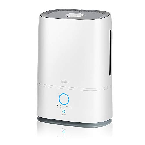 Cool Mist Humidifiers for Large Room Bear(5L), Quiet Air Humidifier for Bedroom Home Babies, 14-41 Hours, Adjustable Mist Output, Auto Shut-Off (1.3 Gallon), White