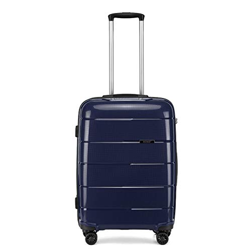 Kono Hard Shell 55cm Cabin Hand Luggage in TSA Lock 4 Wheeled Spinner Lightweight Polypropylene Suitcase with YKK Zipper (S (55cm - 38L), Navy)