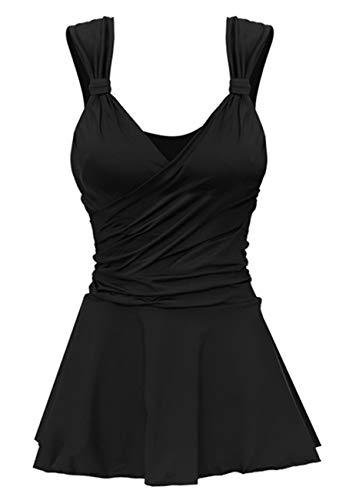 Ecupper Damen Badekleid Bauchweg Figurformender Einteiler Badeanzug mit Slip Bügel Schwarz L