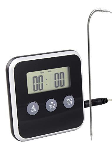 Lantelme Digital Backofen Thermometer Einstich Fühler Temperaturbeständig 250 °C Backofenthermometer Alarm Timer 2153