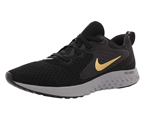 Nike Damen Wmns Legend React Laufschuhe, Schwarz (Black/Metallic Gold/Atmosphere 004), 38.5 EU
