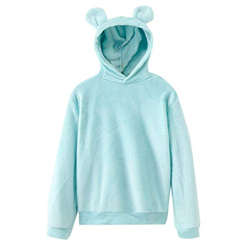 Lazapa Women Plush Hooded Sweatshirt, Long Sleeve Solid Color Sweaters Cute Cat Ear Hat Pullover Ultra Soft Fall Tops Match with Black Slacks, Denim Jeans