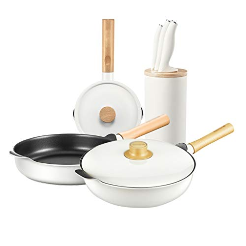 WZHZJ Wok milk pan combination flat-bottomed non-stick wok wok baby food supplement small milk pan set(Without knife)