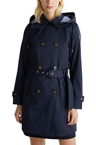 ESPRIT Damen 010EE1G309 Mantel, Blau (Navy 400), Large (Herstellergröße:L)