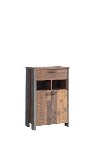 FORTE Garderobenschrank, Schuhschrank mit Einer Tür und einem Schubkasten in trendigem Industrial Look, Old Wood Vintage Dekor und Beton dunkel, One Size CLFD211-C546