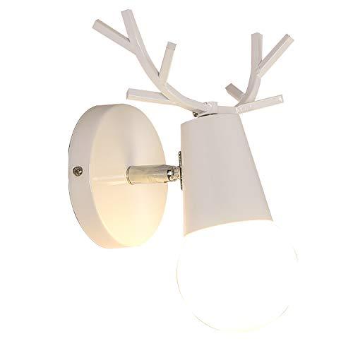 Lámpara de Pared, LED de Hierro y Placa de Madera Lámparas de Cabecera Regalo de Pared Iluminación (D)
