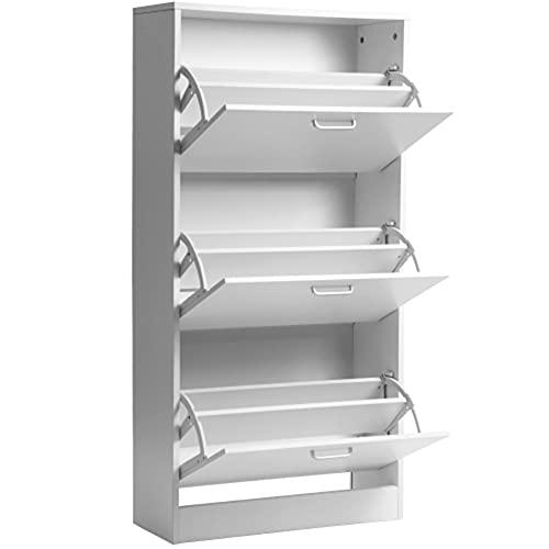GKYI Zapatero con 3 cajones, organizador de almacenamiento para zapatos, mueble de madera, 3 puertas abatibles con accesorios antiretroceso para pasillo, dormitorio (blanco)