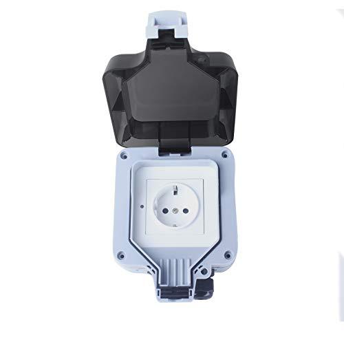 Woox Smart stopcontact voor buiten, WLAN stopcontact met app op afstand bedienbaar, opbouw, IP66 weer- en stofdicht, compatibel met Alexa en Google Assistant