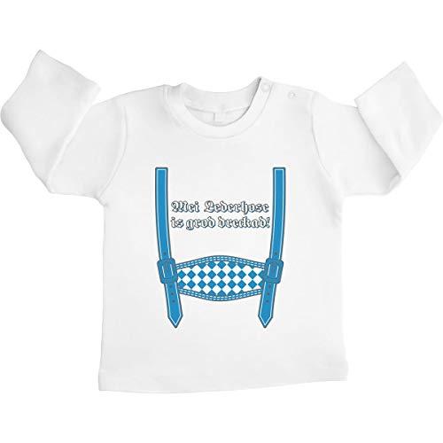 Shirtgeil Mei leren broek is graden dreckad - Oktoberfest Unisex baby shirt met lange mouwen maat 66-93