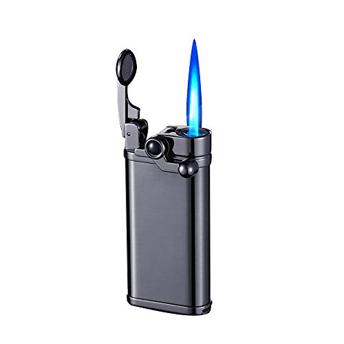 Cigar Torch Lighter with Punch,Adjustable Jet Flame Lighters Butane Refillable Lighters Retro Rocker Cigar,Fuel Visible Window,Strong Windproof Without Gas,Without Gas,for Grill BBQ Camping (Black)