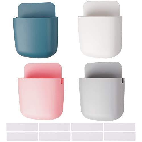 Caja de almacenamiento de control remoto, multifunción, organizador de medios de pared, caja de almacenamiento para teléfono celular, soporte de control remoto (blanco, gris, rosa, azul)