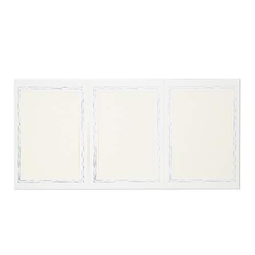 Webafi 10 Stück weiße Leporellos dreiteilig filigraner silberner Rand Foto Bildformat 13 x 18 cm Portraitmappe Passepartout Leporello Fotomappe