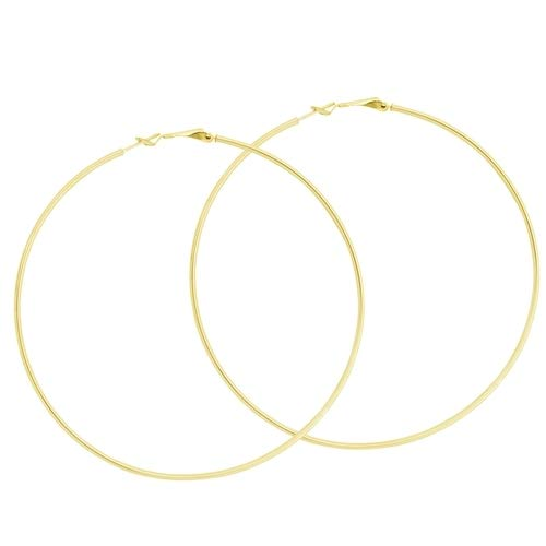 Pendientes de aro de oro amarillo de 10 quilates, 85 mm, cierre omega, joyería de regalo para mujeres, de grado superior al oro de 9 quilates.