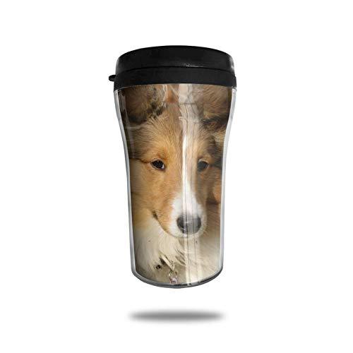 Taza de café de viaje con impresión 3D, taza de té aislada, taza de agua, taza de viaje para hombres, mujeres y niños, hermoso perro de raza Sheltie
