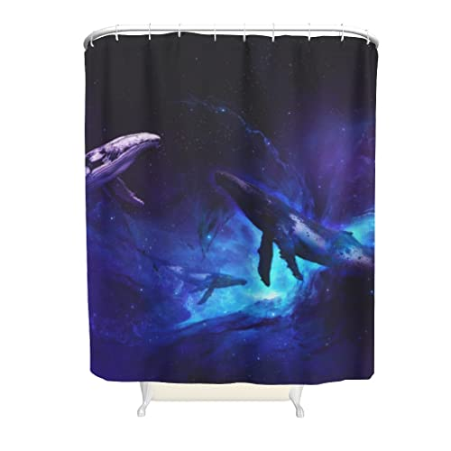 Wandlovers Tenda da doccia con motivo galassia e balena stampata, con fibbie in plastica, supporto e vasche da bagno, colore bianco, 150 x 180 cm