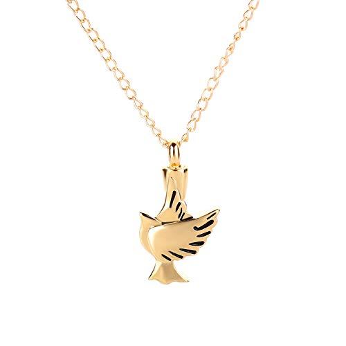 Yowablo Vogel geformte Haustier Urne Halskette Vogel Anhänger kann die Urne öffnen (Gold)
