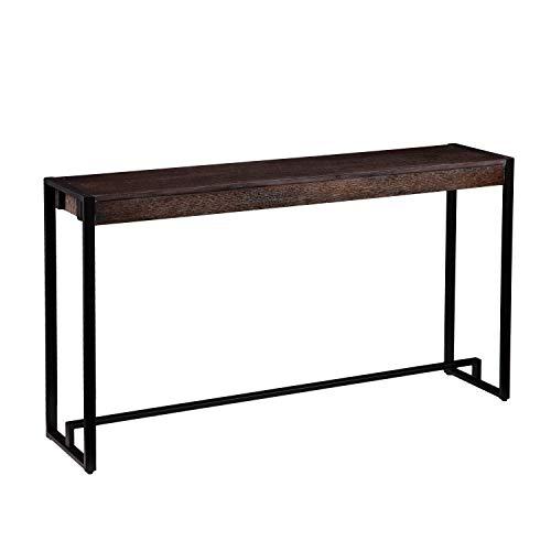 SEI Furniture Macen Narrow Console Table, 54″, Burnt Oak, Black