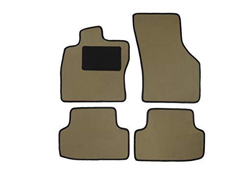 Alpha-Tex Fußmattenset AT-5670, Deluxe beige (4-TLG. ohne Befestigung), hellblaue Umrandung