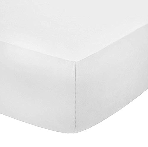 Sleep&Beyond Easy Care Percale 12'' (30CM) Deep Fitted Sheet (White, Small Double)