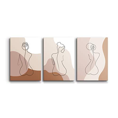 DON LETRA Juego de 3 Cuadros Modernos en Lienzo, 90 x 40 x 2 cm, Cuadros Decorativos para Decoración de Salón y Dormitorio,...