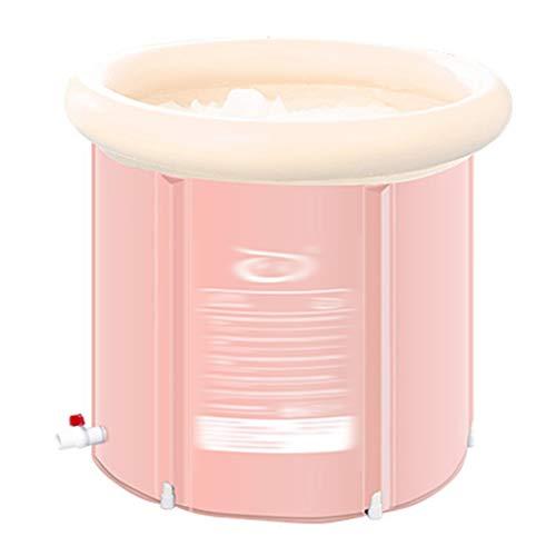 Badewannen ohne Belüftung Badezylinder Klappbare Kunststoffwanne Aufblasbare Badewanne Bad Und Bad Aufblasbare Badewanne Haushalt Dicke Große Badewanne (Color : Pink, Size : 75 * 75CM)