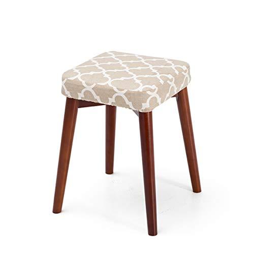 PLL vaste houten eetkamerkruk vierkant kruk stapel kan worden gestapeld kruk creatieve mode dressing kruk doek eettafel kruk huishouden kleine bank, bruine poten 4