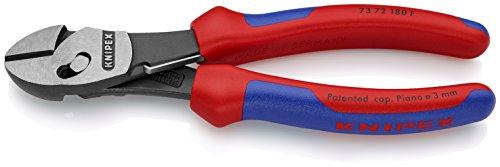 KNIPEX 73 72 180 F TwinForce® Hochleistungs-Seitenschneider mit Öffnungsfeder schwarz atramentiert mit Mehrkomponenten-Hüllen 180 mm