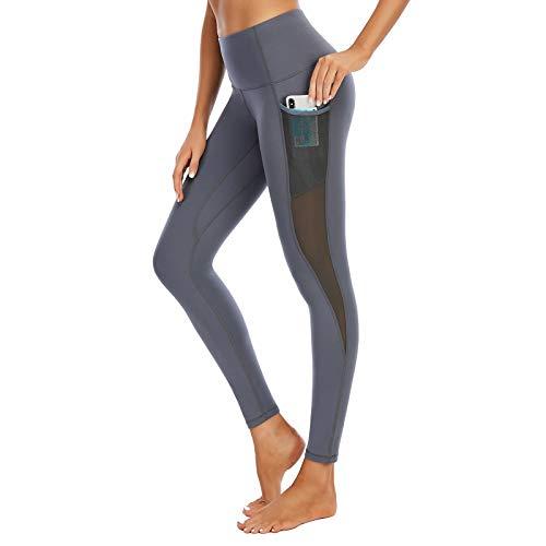 GHQYP Leggins Push Up Mujer,Mallas Deporte Mujer,La Aptitud de la Cintura Alta Corriente Respirable del Alto Estiramiento Jadea, Desgaste Hueco de la Yoga del Diseño del Cordón,Gray,Girl~S